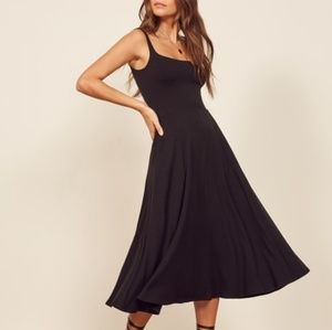 Reformation Mary Midi fit and flare dress in black